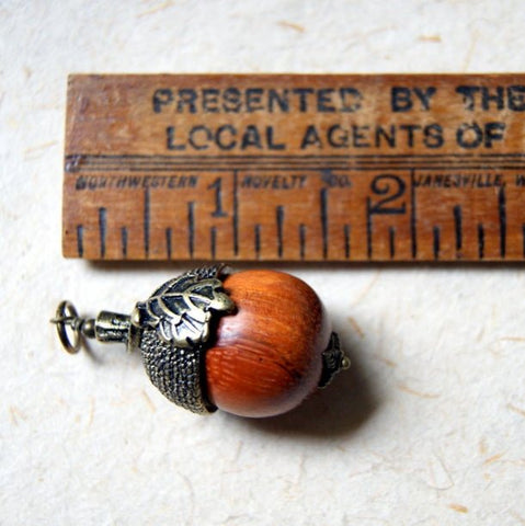 Wooden Acorn Necklace with Antiqued Brass Acorn Cap