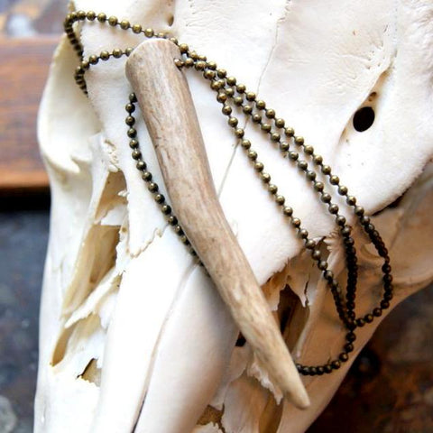 Deer Antler Pendant Necklace with Ball Chain by Wear Your Wild