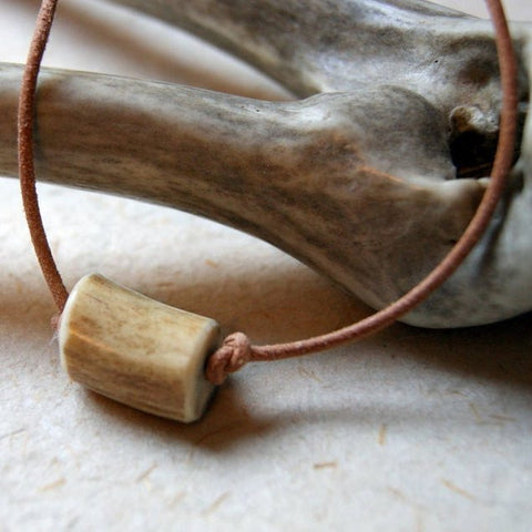 Antler Bead Necklace with Natural Greek Leather Cord