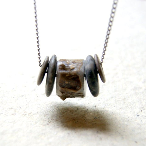 Deer Antler Bead and River Stone Necklace