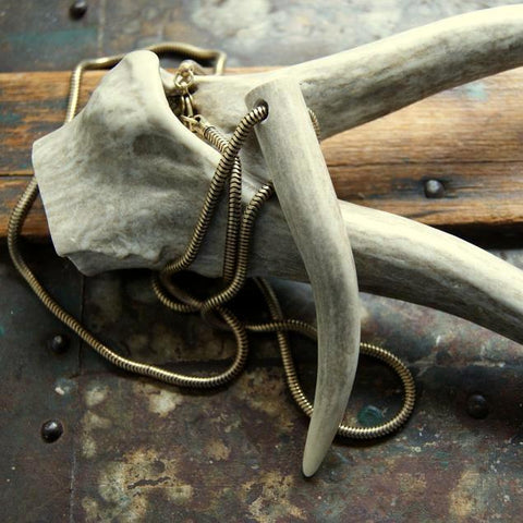 Deer Antler Necklace with Vintage Brass Snake Chain