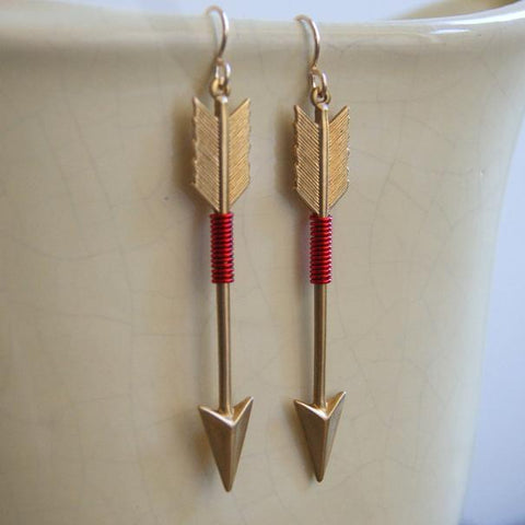 Large Wire Wrapped Brass Arrow Earrings - choose color at checkout