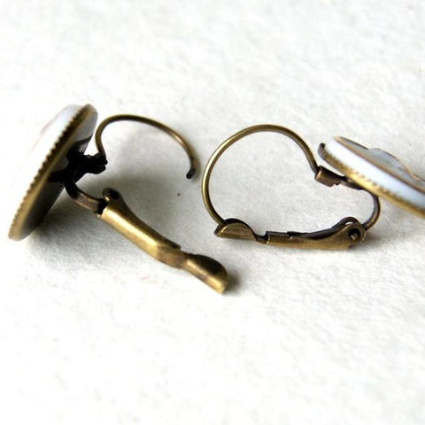 Gold and White Vintage Glass Arrow Cab Earrings by Wear Your Wild