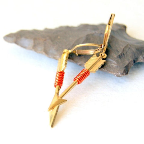 Wire Wrapped Brass Arrow Earrings - choose wire color at checkout