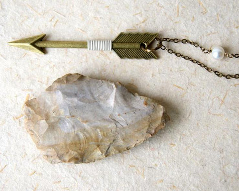 Bronze Arrow Wrapped with Ivory Wire