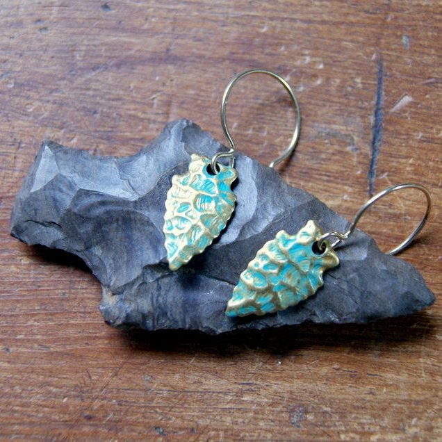 Turquoise and Gold Arrowhead Earrings with Virdigris Patina by Wear Your Wild