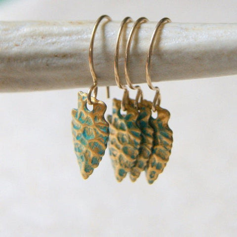 Turquoise and Gold Arrowhead Earrings with Virdigris Patina