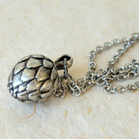 Vintage Antiqued Silver Artichoke Pendant Necklace