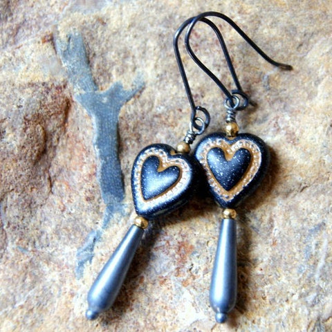 Black Bleeding Heart Earrings