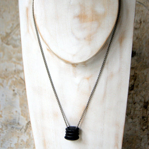 Double Drilled Black Beach Stone Cairn Necklace with Vintage Stainless Steel Chain