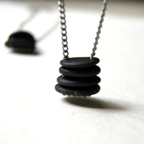 Double Drilled Black Beach Stone Cairn Necklace with Vintage Stainless Steel Chain by Wear Your Wild