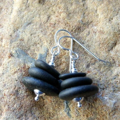 Black River Stone Cairn Earrings with Sterling Silver Earwires