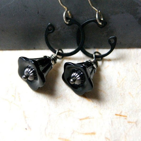 Black Glass Flower Earrings with Retaining Rings by Wear Your Wild