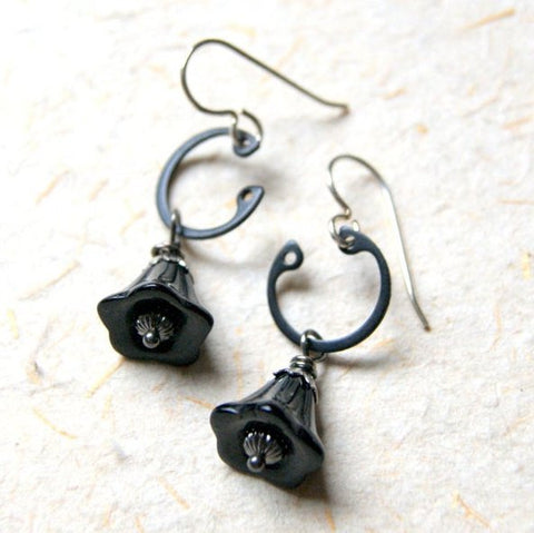 Black Glass Flower Earrings with Retaining Rings