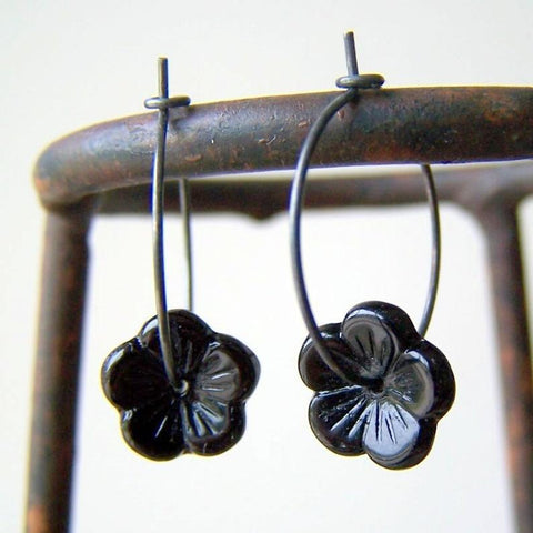Black Glass Flower Bead Hoop Earrings