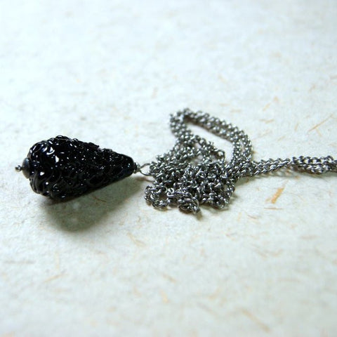 Black Lace Glass Bead Necklace
