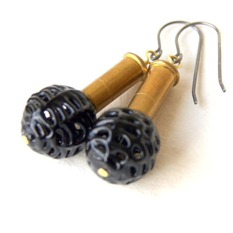 Brass Bullet Earrings with Vintage Black Spider Web Glass Beads