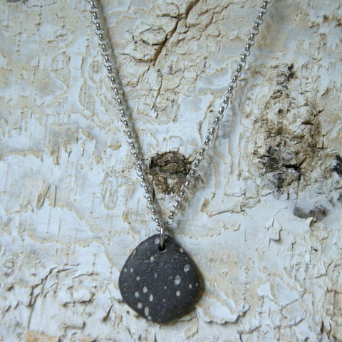 Black and White Spotted Beach Stone Necklace
