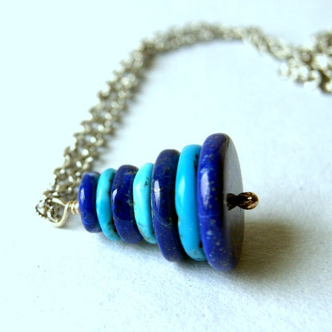 Turquoise and Lapis Cairn Necklace by Wear Your Wild