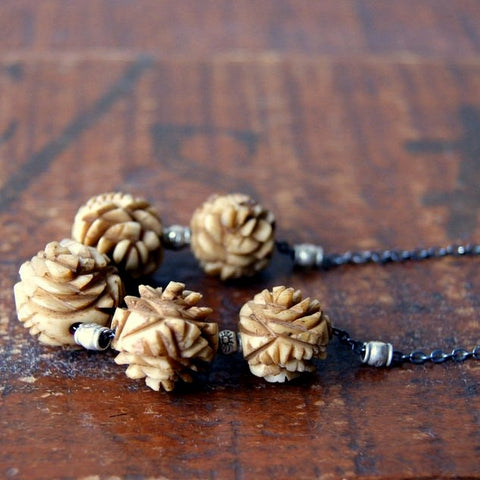 Hand Dyed Vintage Carved Bone Rose Bead Necklace