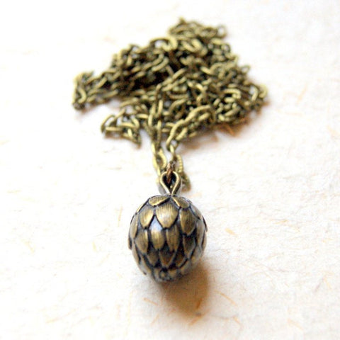 Vintage Antiqued Brass Artichoke Pendant Necklace by Wear Your Wild