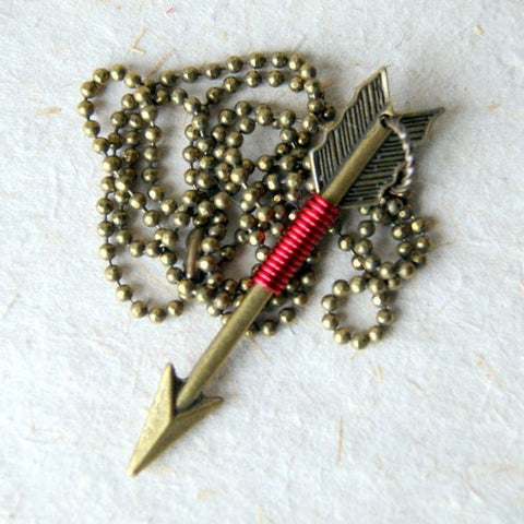 Bronze Arrow Necklace Wire Wrapped With Red Wire