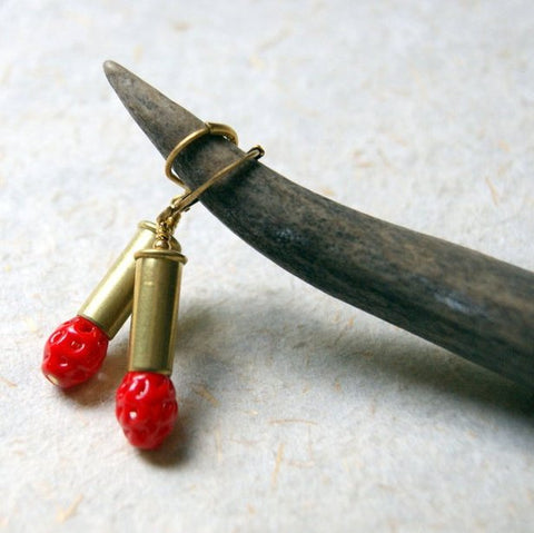 Brass Bullet Earrings with Vintage Red Glass Beads