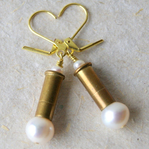 Bullet Earrings with White Freshwater Pearls