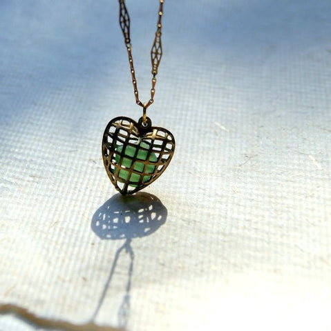Vintage Brass Cage Heart Locket Necklace with Sea Green Sea Glass