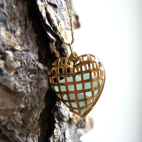Vintage Brass Cage Heart Locket Necklace Filled with Genuine Sea Glass