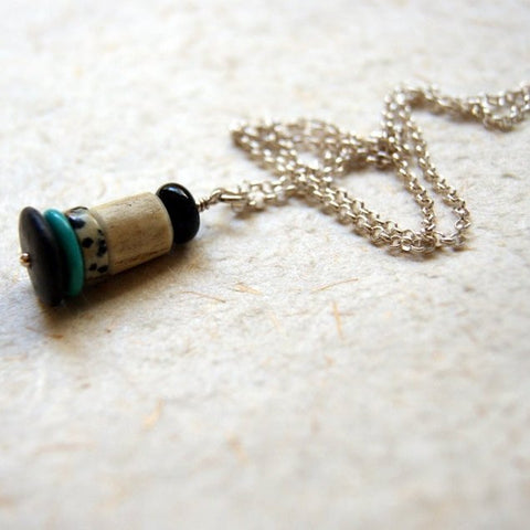 Cairn Necklace with Black Onyx, Antler, Dalmation Jasper and Mexican Turquoise by Wear Your Wild