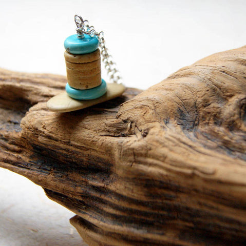 Turquoise, River Stone and Crinoid Stem Fossil Cairn Necklace