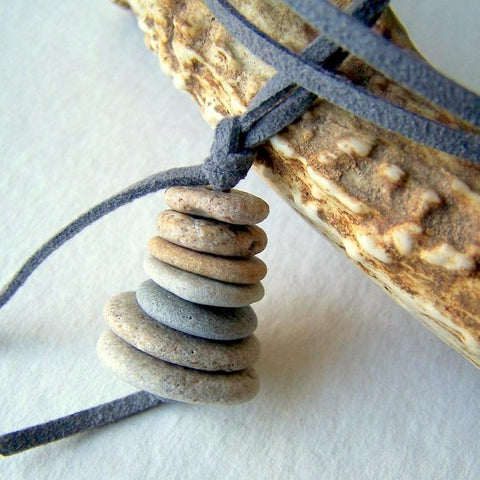 Beach Stone Cairn Necklace with Faux Leather Cord