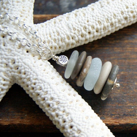 Beach Stone and White Sea Glass Cairn Necklace