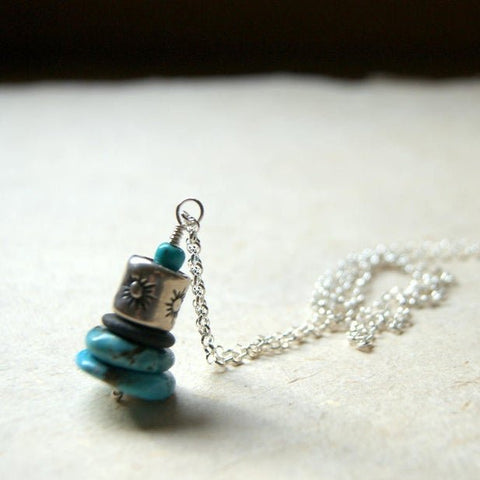 Turquoise and Black River Stone Cairn Necklace