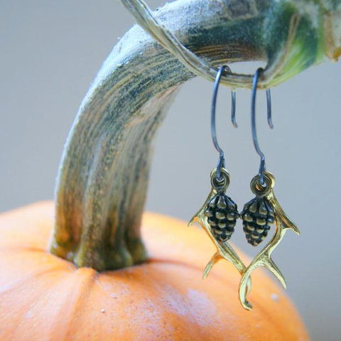 Pine Cone and Antler Earrings by Wear Your Wild