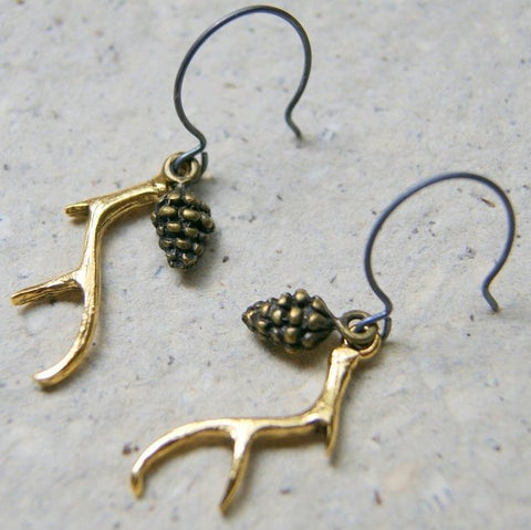Pine Cone and Antler Earrings