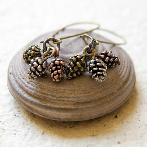 Pine Cone Earrings with a Trio of Cones