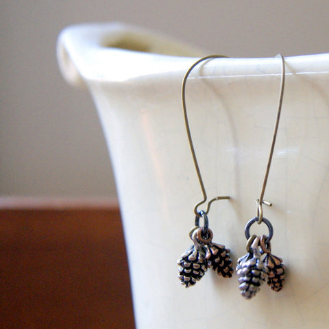 Pine Cone Earrings with a Trio of Cones by Wear Your Wild