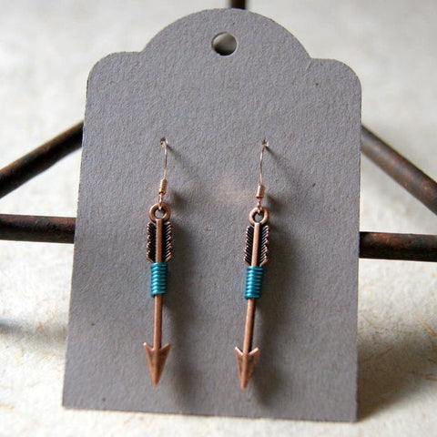 Copper Arrow Earrings Wrapped with Turquoise Wire