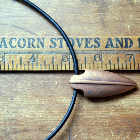 Copper Arrowhead Necklace with Black Leather Cord