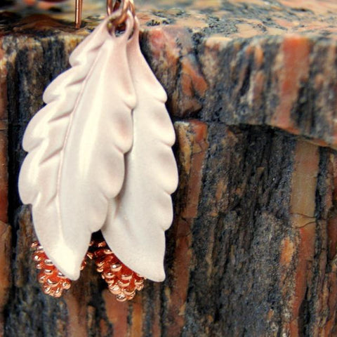 Copper Pine Cone and Vintage Enameled Feather Earrings by Wear Your Wild