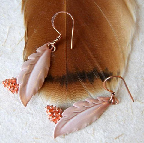 Copper Pine Cone and Vintage Enameled Feather Earrings