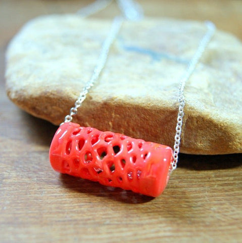 Coral Glass Spider Web Bead Necklace