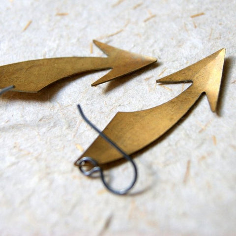 Curved Brass Arrow Earrings with Oxidized Sterling Silver Earwires