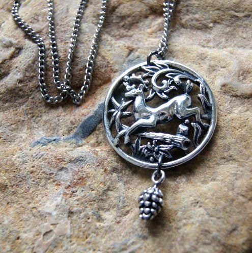 Deer Pendant Necklace with Forest Scene by Wear Your Wild