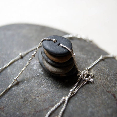 Double Drilled Beach Stone Cairn Necklace