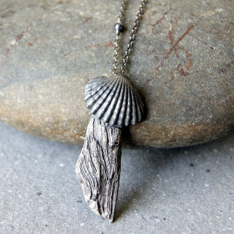 Gray Stoneware Driftwood Pendant with Black Pearl and Vintage Metal Shell Necklace