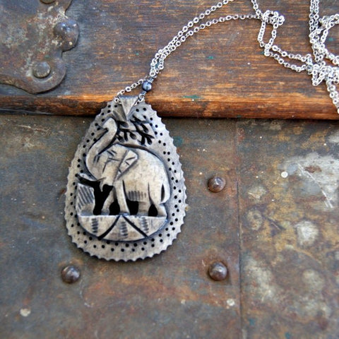 Vintage Hand Dyed (with pomegranate ink) Carved Bone Elephant Pendant Necklace by Wear Your Wild