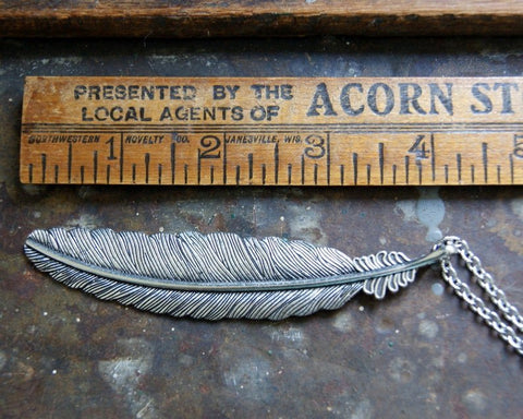 Silver Feather Necklace by Wear Your Wild